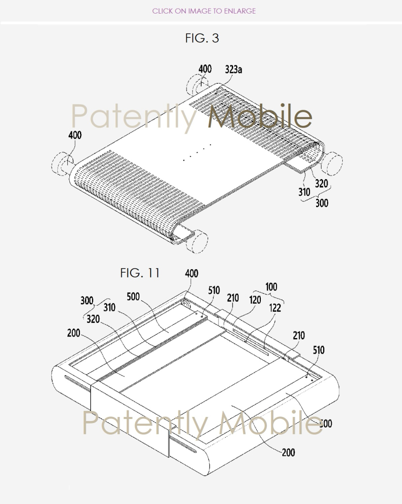 3 Samsung patent figures of granted patent for Expandable Display