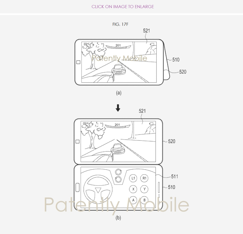 7 - Samsung folding patent fig. 17f Gaming example  Patently Mobile  Nov 2018