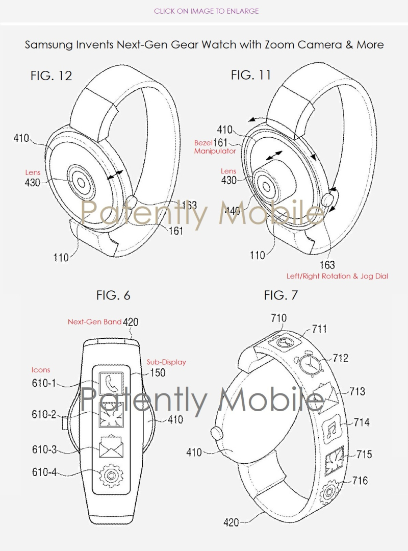 2 samsung wins patent for future Galaxy watch with center camera and display band