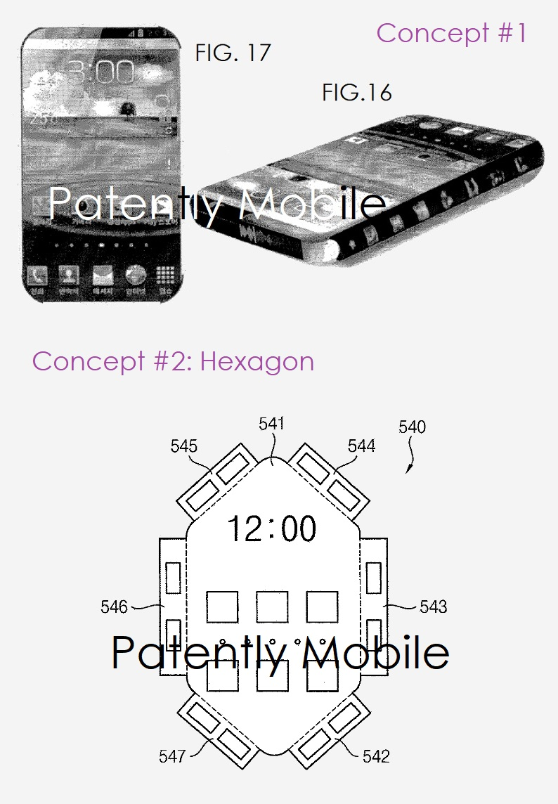 6 samsung patent figs 16 & 17 displays all around the phone + a hexagon 6 sided panel display