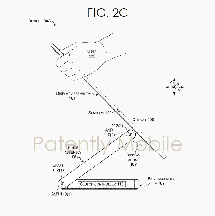 5 Microsoft FIG. 2C - granted a patent for the hinge system of their Surface Studio desktop  Patently Mobile report March 18  2019
