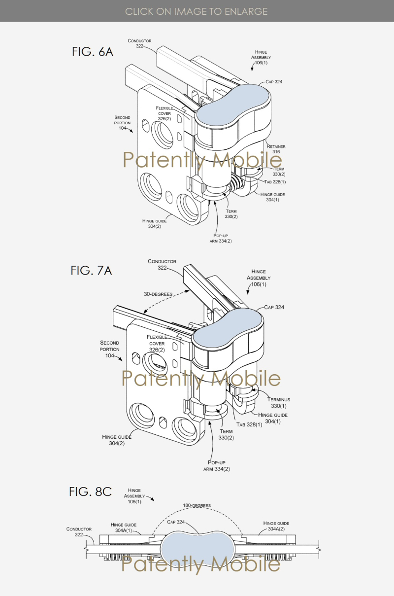 6 X MICROSOFT PATENT FIGS 6A  7A  8C HINGES FOR A FOLDABLE DEVICE