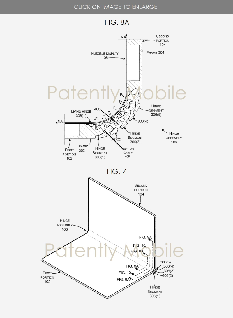 4 Microsoft patent figs 7 & 8a Hinge for folding device - Patently Mobile device