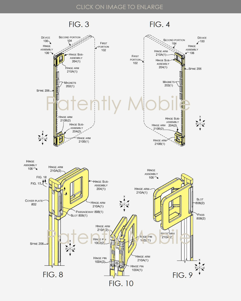 4 Microsoft patent FIGS. 3  4  8  9 & 10 HINGE FOR DUAL DISPLAY DEVICE
