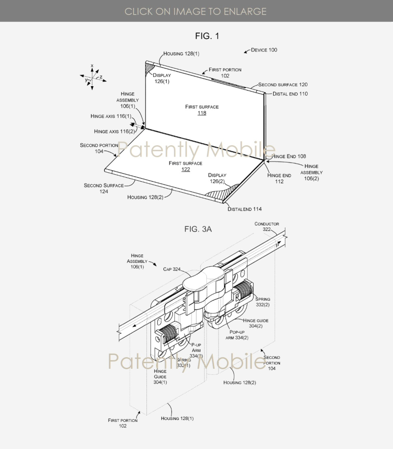 4X Microsoft patent figs 1 & 3a hinge system for new foldable surface device