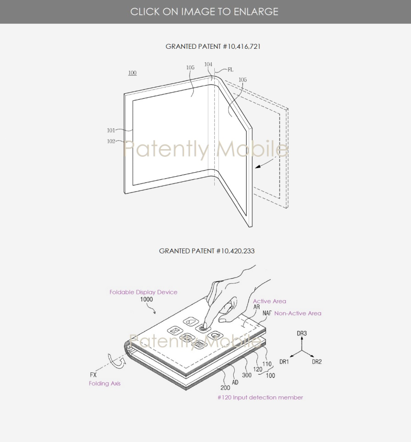 3 samsung granted patents for foldable devices