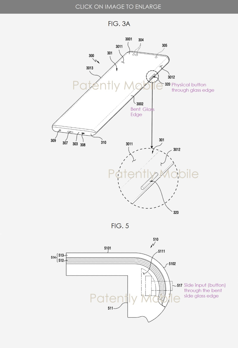 2 x - samsung patent figs 3a and 5 - button through display  glass side edge Patently mobile